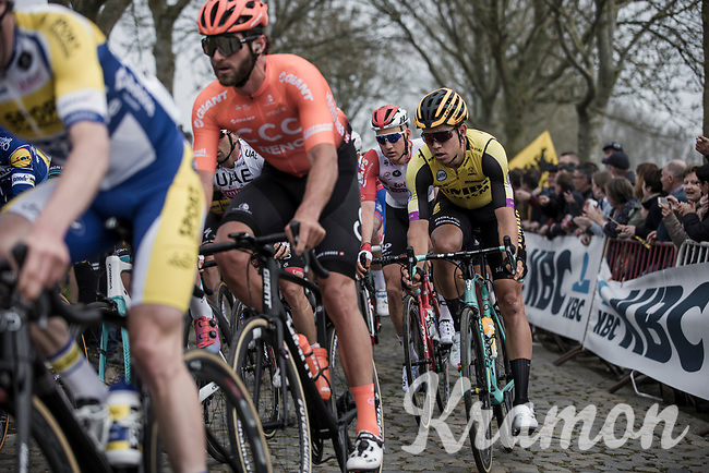Wout Van Aert (BEL) riding the 'Paddestraat' cobbles.<br /> <br /> 103rd Ronde van Vlaanderen 2019<br /> One day race from Antwerp to Oudenaarde (BEL/270km)<br /> <br /> ©kramon