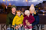 Owen, Dylan, Saoirse and Karen O'Connell enjoying the turning on of the Christmas Tree lights in Listowel on Sunday evening.