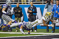 UCLA running back Paul Perkins (24) dives for a touchdown during first half of Alamo Bowl, Friday, January 02, 2015 in San Antonio, Tex. UCLA leads Kansas State 31-6 at the halftime. (Mo Khursheed/TFV Media via AP Images)