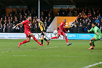 O's Jamie Turley scores O's 1st goal past Dimitar Mitov during Cambridge United vs Leyton Orient, Sky Bet EFL League 2 Football at Abbey Stadium on 21st December 2019