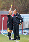 24.11.2019: Hamilton v Rangers: Brian Rice booked by Steven McLean