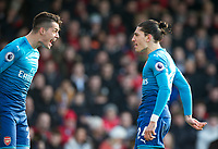 Hector Bellerin of Arsenal celebrates scoring the opening goal of the match with Granit Xhaka of Arsenal during the Premier League match between Bournemouth and Arsenal at the Goldsands Stadium, Bournemouth, England on 14 January 2018. Photo by Andy Rowland.
