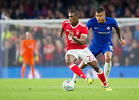 Tendayi Darikwa of Nottingham Forest is shadowed by Kenedy of Chelsea, Carabao Cup, Third Round, Chelsea v Nottingham Forrest, Stamford Bridge, London, United Kingdom, 20th  September 2017