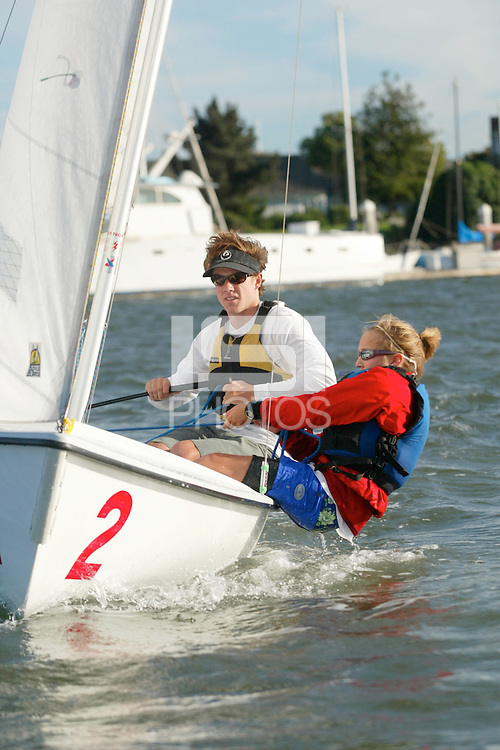 29 October 2003: Brian Haines and Becca Levin during sailing practice in Redwood Shores, CA.
