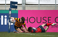 4 March 2013; RBAI winger Iain Jones scores during the schools cup semi-final clash between RBAI and Ballyclare High School at Ravenhill Belfast. Photo Credit : John Dickson / DICKSONDIGITAL