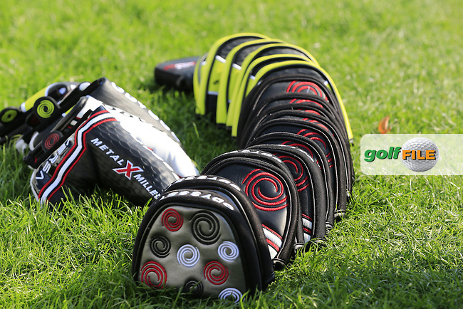 Odyssey head covers lined up during Tuesday's Practice day of the WGC - HSBC Champions 2014 held at Sheshan International Golf Club, Shanghai, China. 4th November 2014.<br /> Picture: Eoin Clarke www.golffile.ie