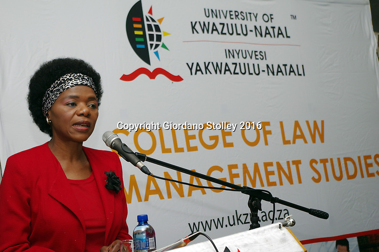 PIETERMARITZBURG - 9 March 2016 - Advocate Thuli Madonsela, South Africa's Public Protector, speaks to students at the law faculty of the University of KwaZulu-Natal in Pietermartzburg. The office of the Public Protector is an external state institution of the country that investigates misconduct government. Picture: Allied Picture Press/APP
