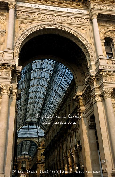 Entrance to the shopping arcade Galleria Vittorio Emanuele II, Milan, Italy.
