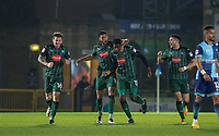 Jake Jervis of Plymouth Argyle puts an arm around goalscorer Nathan Blissett (13) of Plymouth Argyle as they celebrate equalising with teammates during the Sky Bet League 2 match between Wycombe Wanderers and Plymouth Argyle at Adams Park, High Wycombe, England on 14 March 2017. Photo by Kevin Prescod / PRiME Media Images.