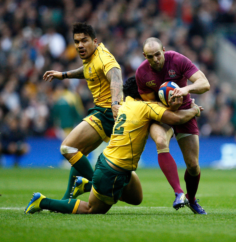Photo: Richard Lane/Richard Lane Photography. England v Australia. QBE Autumn Internationals. 17/11/2012. England's Charlie Sharples attacks.