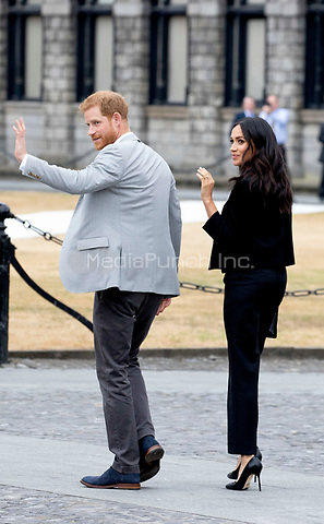 Prince Harry and Meghan, The Duke and Duchess of Sussex at the Trinity College in Dublin, on July 11, 2018, to meet members of the public at Trinity College's Parliament Square, on the last of a 2 days visit to Dublin<br />