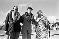 18 Apr 1970, Honolulu, Oahu, Hawaii, USA --- Apollo 13 command module pilot John Swigert stands with his parents following the return of the Apollo 13 crew in Honolulu. The mission was cut short due to an on board explosion, resulting in a forced splashdown in the Pacific Ocean. --- Image by © JP Laffont
