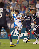 Puebla FC midfielder Andres Olivera (10) shoots and scores. The New England Revolution defeated Puebla FC in penalty kicks, in SuperLiga 2010 semifinal at Gillette Stadium on August 4, 2010.