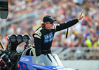 Aug 18, 2018; Brainerd, MN, USA; NHRA top fuel driver Bill Litton during qualifying for the Lucas Oil Nationals at Brainerd International Raceway. Mandatory Credit: Mark J. Rebilas-USA TODAY Sports