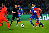 31st October 2017, St Jakob-Park, Basel, Switzerland; UEFA Champions League, FC Basel versus CSKA Moscow; Mohamed Elyounoussi of FC Basel runs with the ball towards Aleksey Berezutskiy of CSKA Moscow