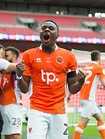 Blackpool's Bright Osayi-Samuel  celebrating after the Sky Bet League 2 PLAY OFF FINAL match between Exeter City and Blackpool at Wembley Stadium, London, England on 28 May 2017. Photo by Andrew Aleksiejczuk.