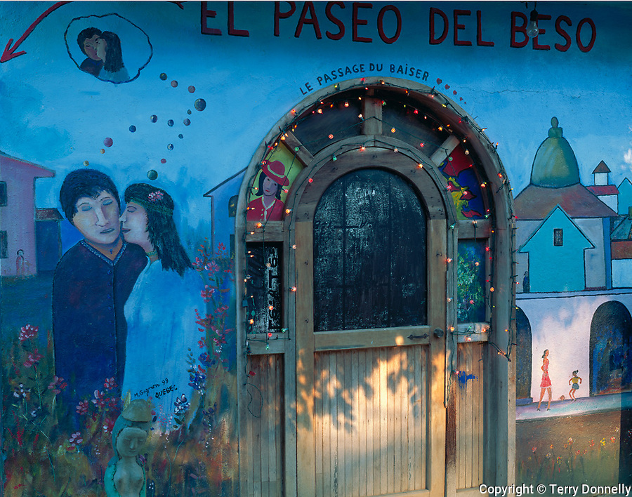 Nayarit, Mexico<br /> Decorated doorway and painted wall on a back street in the village of Bucerias