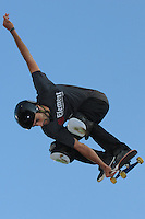17 August, 2012:  Marcelo Bastos competes in the Skateboard Vert semi-final at the Pantech Beach Championships in Ocean City, MD.