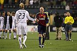22 November 2009: Salt Lake's Clint Mathis (84) and Los Angeles's David Beckham (ENG) (23) shake hands between their penalty kick attempts. Real Salt Lake defeated the Los Angeles Galaxy 5-4 on penalty kicks after the teams played to a 1-1 overtime tie at Qwest Field in Seattle, Washington in MLS Cup 2009, Major League Soccer's championship game.