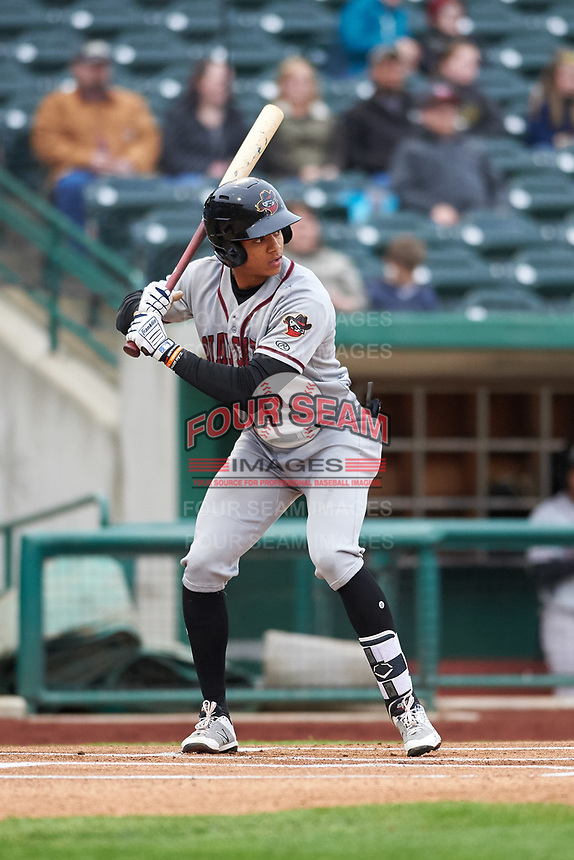 Quad Cities River Bandits Jeremy Pena (1) at bat during a Midwest League game against the Fort Wayne TinCaps at Parkview Field on May 3, 2019 in Fort Wayne, Indiana. Quad Cities defeated Fort Wayne 4-3. (Zachary Lucy/Four Seam Images)