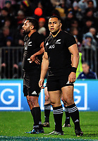 Lima Sopoaga (left) and Nani Laumape wait for play to restart during the Rugby Championship match between the NZ All Blacks and Argentina Pumas at Yarrow Stadium in New Plymouth, New Zealand on Saturday, 9 September 2017. Photo: Dave Lintott / lintottphoto.co.nz