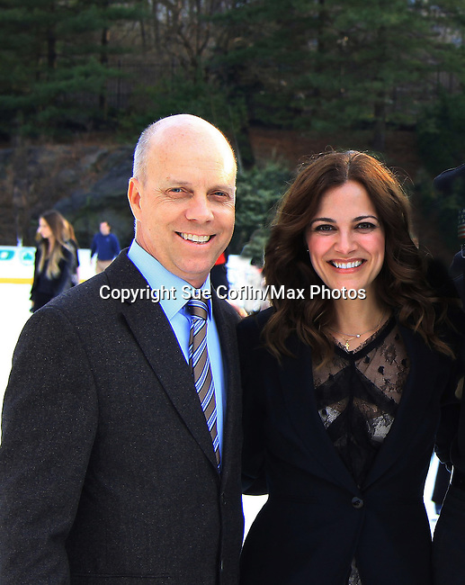 All My Children Rebecca Budig & Olympian champion fiigure skater Scott Hamilton - The 2013 Skating with the Stars- a benefit gala for Figure Skating in Harlem on April 8, 2013 at Trump Wollman Rink, New York City, New York. (Photo by Sue Coflin/Max Photos)