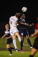 Sky Blue FC forward Danesha Adams (9) goes up for a header with FC Kansas City defender Becky Sauerbrunn (4). FC Kansas City defeated Sky Blue FC 1-0 during a National Women's Soccer League (NWSL) match at Yurcak Field in Piscataway, NJ, on July 28, 2013.