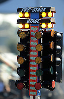 Sept. 19, 2010; Concord, NC, USA; Detailed view of the NHRA starting lights also referred to as the christmas tree during the O'Reilly Auto Parts NHRA Nationals at zMax Dragway. Mandatory Credit: Mark J. Rebilas-