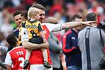 Aaron Ramsey of Arsenal with child during the English Premier League match at the Emirates Stadium, London. Picture date: May 21st 2017.Picture credit should read: Charlie Forgham-Bailey/Sportimage