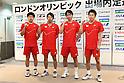 (L to R) Sho Sasaki, Shoji Sato, Shintaro Ikeda, Naoki Kawamae (JPN), .June 9, 2012 - Badminton : .Badminton Japan National Team Send-off Ceremony for the London Olympics 2012 .in Tokyo, Japan. .(Photo by Daiju Kitamura/AFLO SPORT) [1045]