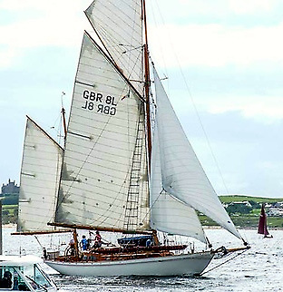 The 50ft ketch Betty Alan at Mullaghmore Regatta 2019