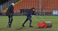 The pitch is rolled to remove water prior to the 5.30 pm pitch inspection<br /> <br /> Photographer Dave Howarth/CameraSport<br /> <br /> The EFL Sky Bet League One - Blackpool v Wycombe Wanderers - Tuesday 29th January 2019 - Bloomfield Road - Blackpool<br /> <br /> World Copyright © 2019 CameraSport. All rights reserved. 43 Linden Ave. Countesthorpe. Leicester. England. LE8 5PG - Tel: +44 (0) 116 277 4147 - admin@camerasport.com - www.camerasport.com
