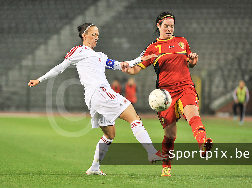 20130921 - BRUSSELS , BELGIUM : Duel pictured between Belgian Cecile De Gernier (right) and Albanian Seranaj Aurora (left) during the female soccer match between Belgium and Albania , on the first matchday in group 5 of the UEFA qualifying round to the FIFA Women World Cup in Canada 2015 at the Koning Boudewijn Stadion , Brussels . Saturday 21th September 2013. PHOTO DAVID CATRY