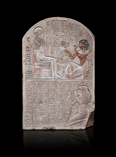 Ancient Egyptian stele dedicated to the god Khonsu by draftsman Pay, limestone, New Kingdom, 19th Dynasty, (1279-1213 BC), Deir el-Medina, ODrovetti cat 1553. Egyptian Museum, Turin. black background,