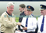 Bill Clinton pictured upon arrival at Kerry Airport on Sunday morning . Also included from left are Dept of Foreign Affairs Official Brian Ward,  Kerry Airport Manager Peter Moore , Asst Garda Commissioner Eamon Keating and Chief Supt. Fred Garvey.<br />