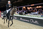 Roger Yves Bost riding Record d'Oreal during the Prize Ceremony after winning the Massimo Dutti Trophy as part of the Longines Masters of Hong Kong on 21 February 2016 at the Asia World Expo in Hong Kong, China. Photo by Li Man Yuen / Power Sport Images