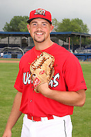 Batavia Muckdogs pitcher David Kington (12) poses for a photo before minicamp team practice at Dwyer Stadium in Batavia, New York June 14, 2010.   Photo By Mike Janes/Four Seam Images