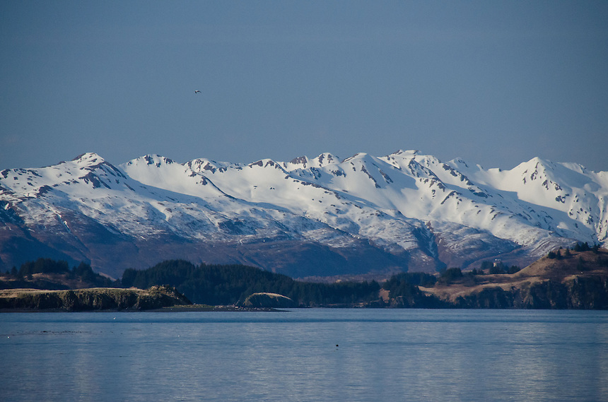 Mountains and Harbor, Kodiak Island, Alaska, US
