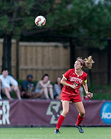 NEWTON, MA - AUGUST 29: Kelly Harris #24 of Boston University heads the ball during a game between Boston University and Boston College at Newton Campus Field on August 29, 2019 in Newton, Massachusetts.