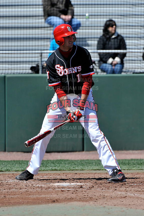 St.John's Red Storm outfielder Jeremy Baltz (18) during a game against Louisville Cardinals at Jack Kaiser Stadium in Queens, New York;  April 17, 2011.  St. John's defeated Louisville 7-2.  Photo By Tomasso DeRosa/Four Seam Images