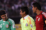June 04 2008:  Jorge Campos (center) of Mexico goalie fame laughs with Gerardo Torrado (Cruz Azul) (6) and Oswaldo Sanchez (Santos) (1) of Mexico.  During Mexico's 2008 USA Tour in preparation for qualification for FIFA's 2010 World Cup, the national soccer team of Mexico was defeated by Argentina 1-4 at Qualcomm Stadium, in San Diego, CA.