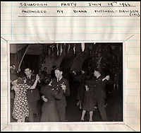 BNPS.co.uk (01202 558833)<br /> Pic: IAA/BNPS<br /> <br /> Sumpter dancing (centre) with a Diana Dawson-Mitchell at a 617 squadron party in July 1944.<br /> <br /> A fascinating and historic logbook and photographs from a Dambuster's hero who also went on many other famous raids during WW2 has come light. <br /> <br /> The remarkable collection belonged to Flight Sergeant Leonard Sumpter who was a bomb aimer on the iconic Dam's mission, and put together a unique scrapbook of his thrilling wartime career in Bomber Command's most famous squadron.<br /> <br /> As well as the bouncing bomb sortie, the ace bomb aimer also dropped Barnes Wallis's later invention's of massive Tallboy and Grand Slam 'bunker busting' bombs, the largest non nuclear warheads of the war.<br /> <br /> Only the elite 617 squadron were entrusted with delivering these hugely valuable weapons onto their vital targets, that included U-boat pens, V2 rocket sites and even Hitler's Bavarian hideaway the Eagles Nest.<br /> <br /> Also included are pictures Mr Sumpter took in 1947 during a summer excusion to visit some of the sites he had attacked during the conflict.<br /> <br /> Flt Sgt Sumpter's daughter has decided to put the photo album up for auction together with his logbook and his personal scrapbook.