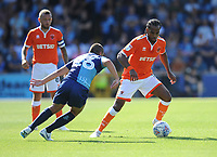 Blackpool's Nathan Delfouneso under pressure from Wycombe Wanderers' Michael Harriman<br /> <br /> Photographer Kevin Barnes/CameraSport<br /> <br /> The EFL Sky Bet League One - Wycombe Wanderers v Blackpool - Saturday 4th August 2018 - Adams Park - Wycombe<br /> <br /> World Copyright &copy; 2018 CameraSport. All rights reserved. 43 Linden Ave. Countesthorpe. Leicester. England. LE8 5PG - Tel: +44 (0) 116 277 4147 - admin@camerasport.com - www.camerasport.com