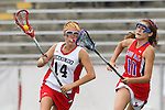 Redondo Beach, CA 05/14/11 - Allison Field (Redondo Union #14) and Elena Grigovovich-Barsky (Los Alamitos #11)in action during the 2011 US Lacrosse / CIF Southern Section Division 1 Girls Varsity Lacrosse Championship, Los Alamitos defeated Redondo Union 17-5.