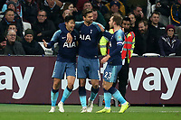 Son Heung-Min of Tottenham Hotspur is congratulated after scoring the first goal during West Ham United vs Tottenham Hotspur, Caraboa Cup Football at The London Stadium on 31st October 2018