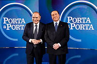 Silvio Berlusconi and Bruno Vespa<br /> Rome February 14th 2019. Silvio Berlusconi appears as a guest on the Tv show Porta a Porta.<br /> Foto Samantha Zucchi Insidefoto
