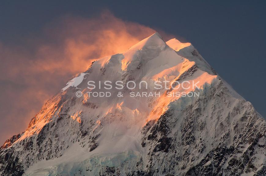 Sunset, Aoraki / Mount Cook summit, New Zealand - stock photo, canvas, fine art print