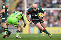 Dan Cole of Leicester Tigers takes on the Northampton Saints defence. Aviva Premiership match, between Leicester Tigers and Northampton Saints on April 14, 2018 at Welford Road in Leicester, England. Photo by: Patrick Khachfe / JMP