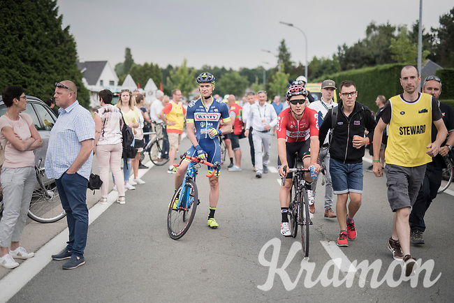race winner Jasper de Buyst (BEL/Lotto-Soudal) escorted back to the podium<br /> <br /> 10th Heistse Pijl 2017