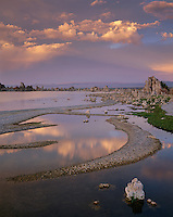 Mono Basin Scenic Area, CA<br /> Evening sky and cloud reflections among the sandbar patterns at the shoreline near Mono Lake's South Shore